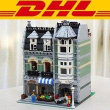lepin 15008 2462Pcs City Street Creator Green Grocer Model Building Kits Minifigure Blocks Bricks Compatible with Legoe 10185