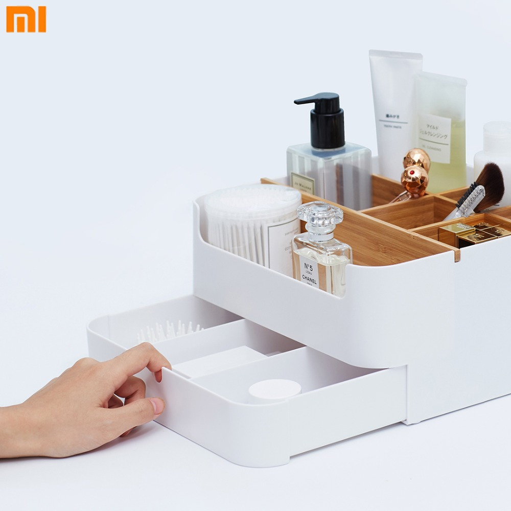 Xiaomi multiusos caja de almacenamiento cajón Mijia cosméticos Material ABS superficie de escritorio escombros clasificación caja