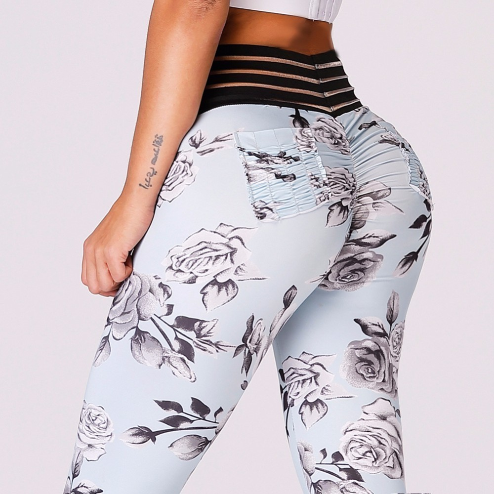 2018 New Women Scrunch Leggings Push Up Butt Leggings Sexy Stripe Waist Yoga Pants Floral Yoga Leggings with Pocket Gym Pants women s sportive floral print skinny yoga leggings