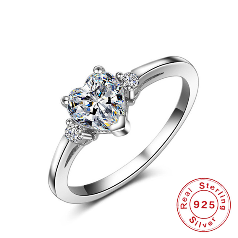 S925 Sterling Silver Rings for Women Heart Love Classic Bridal Wedding Fine Jewelry White Unique Engagement Accessories RingS925 Sterling Silver Rings for Women Heart Love Classic Bridal Wedding Fine Jewelry White Unique Engagement Accessories Ring