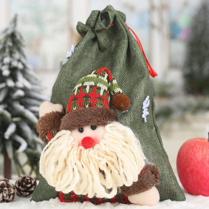 Christmas linen drawstring gift bag large candy bag holiday party supplies