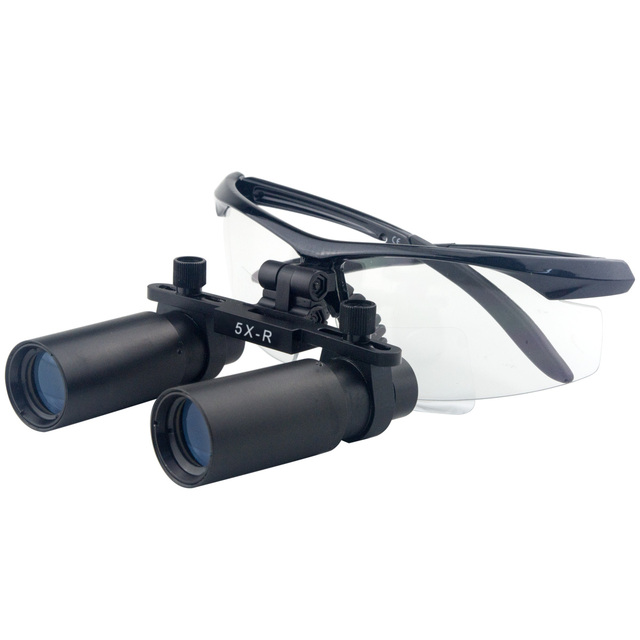 5.0x Magnification Professional Loupes with Black BP Sports Frame Adjustable Pupil Distance Model #DM5