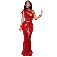 YUYOU new red sequins mermaid dress elegant fashion sexy sleeveless dress bohemian style flannel sequin dress