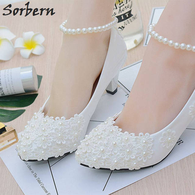 Sorbern White Beading Ankle Strap Cute Flowers Wedding Shoes Med Heels Bridal  Shoes Wholesale Women Shoes 58cc60ca0