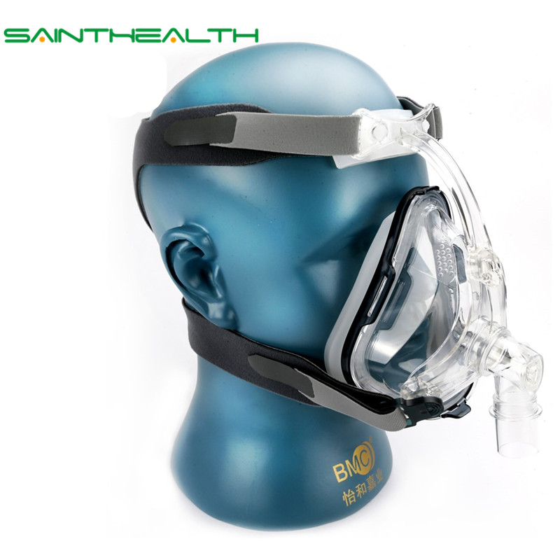 FM1A Full Face Mask For CPAP Bipap Machine COPD Snoring And Sleep Therapy Size SML Connect Face And Hose With Headgear Clips