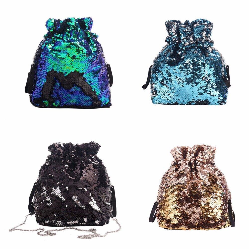 Fashion Design Sequins Glitter Fashion Drawstring Bag Shoulder Bag Dance Bag For Women Girls Teens