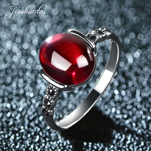 JIASHUNTAI 4 color wedding rings Vintage red silver 925 rings for women Retro Natural stone silver Ring set female jewelry gift