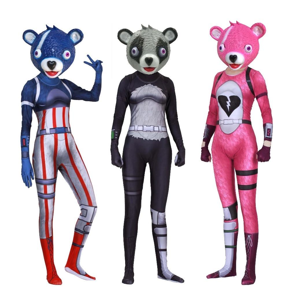 Halloween feux d'artifice cuddlet chef d'équipe Nuit-Panda Fille cuddlet teamleader Cosplay Costumes collants adultes/enfants/enfants