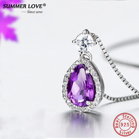 Summer Love Purple Crystal Water Drop Amythst 2 85g Pendant Necklace Genuine 925 Sterling Silver Jewelry
