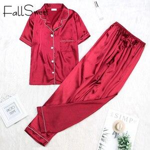 Image 4 - FallSweet Women Pajamas Sets  Silk Solid Sleepwear Pyjamas Plus Size V Neck Nigtwear Sets 5XL