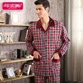 Весна и Осень Мужчины Пижамы Устанавливает Полный Рукав Плед Пижамы Хлопок Мужчины Пижамы Случайные Гостиная Сна Шею Пижамы Домашняя Одежда