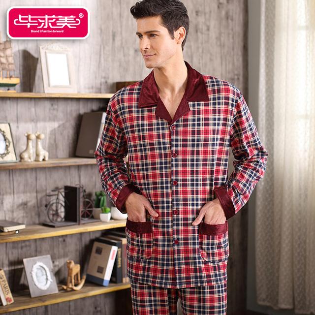 Conjuntos de Homens de Pijama Completo Manga primavera & Outono Xadrez Homens Sleepwear Ocasional Salão Sono Pijama de Algodão Em Torno Do Pescoço Pijamas Homewear