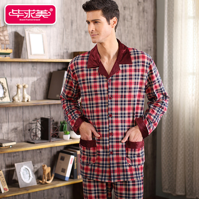 Spring & Autumn Men Pajama Sets Full Sleeve Plaid Pajamas Cotton Men Sleepwear Casual Sleep Lounge Round Neck Pyjamas Homewear
