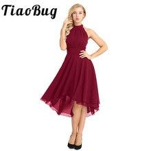 Tiaobug Frauen Damen Halter Neck Sleeveless High low Chiffon Elegante Brautjungfer Sommer Kleider Formale Partei Prom Kleider Kleid