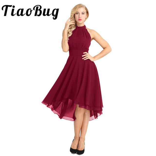 Tiaobug Kadınlar Bayanlar Halter Boyun Kolsuz Yüksek düşük Şifon Zarif Nedime Yaz Elbiseler Örgün Parti Balo Abiye Elbise