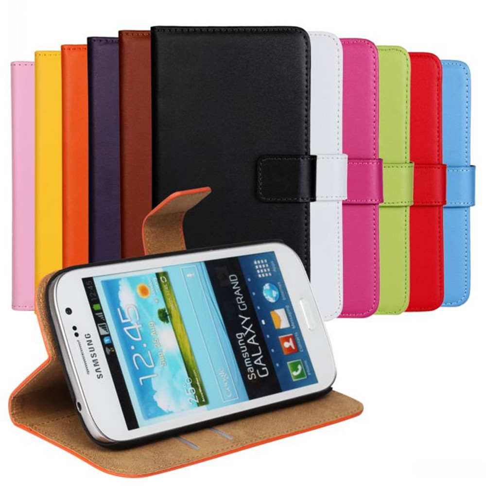 For Samsung Galaxy Grand Lite Neo Plus i9060 i9060i i9062 i9082 Luxury Genuine Leather Wallet Case and Flip Phone Cover