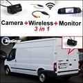 3 in1 Especial Câmera de Visão Traseira Sem Fio + Receptor + espelho Monitor de DIY Fácil Sistema de Estacionamento de Backup Para Ford Transit 2000 ~ 2013