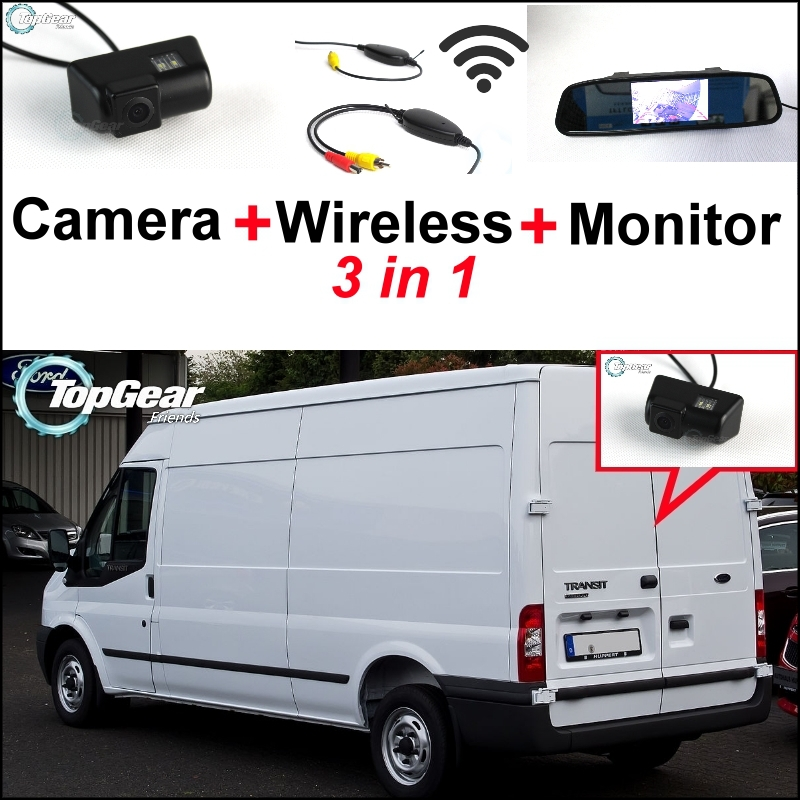 3 in1 Special Rear View Camera + Wireless Receiver + Mirror Monitor Easy DIY Backup Parking System For Ford Transit 2000~2013 3 in1 special wifi rear view camera wireless receiver mirror monitor easy diy parking system for chevrolet malibu 2012 2014