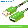 VOXLINL 5m USB Extension Cable Male to Female Data Sync USB 2.0 Extension Cord Cable Adapter Connector for PC Laptop