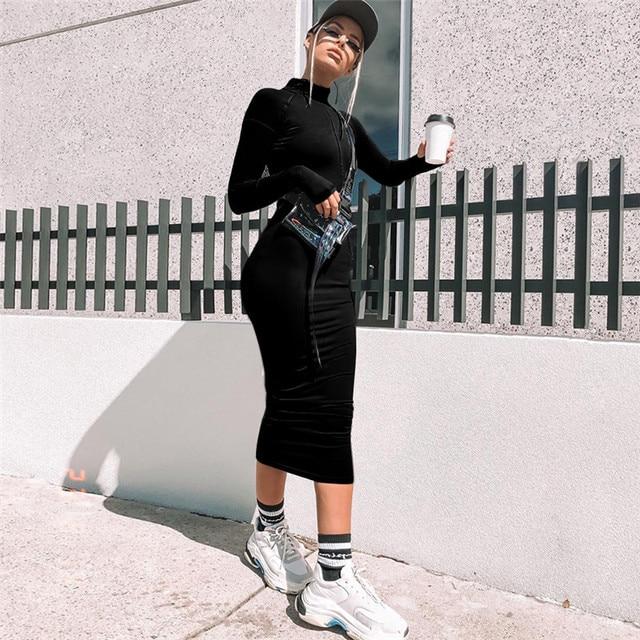 BOOFEENAA Front Zip Long Sleeve Black