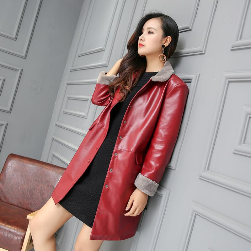 Manteau 5xl Plus rouge vent D'hiver Unique Automne Cuir Msaiss Noir Faux La En Poitrine Femme Mode Taille Femelle vert Veste Coupe 2018 6vxTUCqwnF