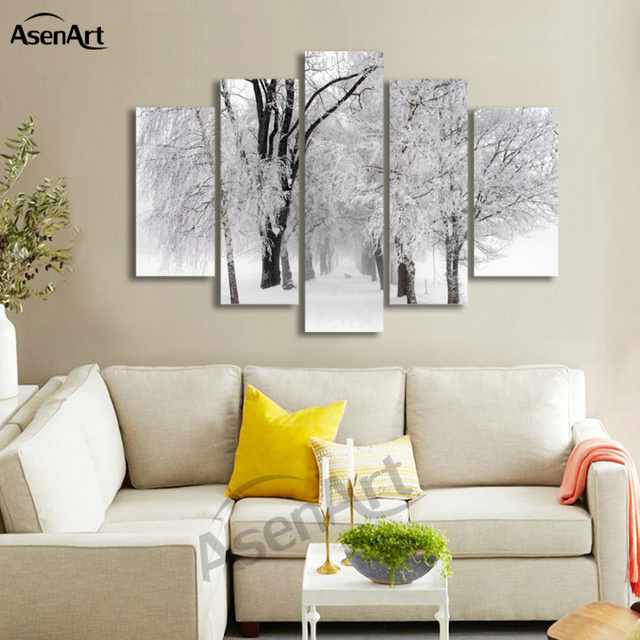 5 panel wandkunst winter schnee gem lde moderne baum malerei bild f r wohnzimmer wand dekor. Black Bedroom Furniture Sets. Home Design Ideas