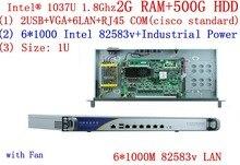 1U network server with 6*1000M inte 82583v lan Celeron C1037U CPU support ROS Mikrotik PFSense Panabit Wayos 2G RAM 500G HDD