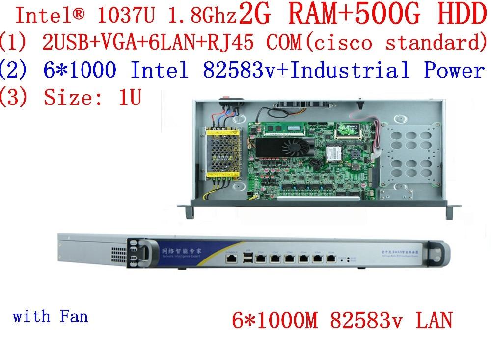 1u Network Server Mit 6*1000 Mt Inte 82583 V Lan Celeron C1037u Cpu Unterstützung Ros Mikrotik Pfsense Panabit Wayos 2g Ram 500g Hdd