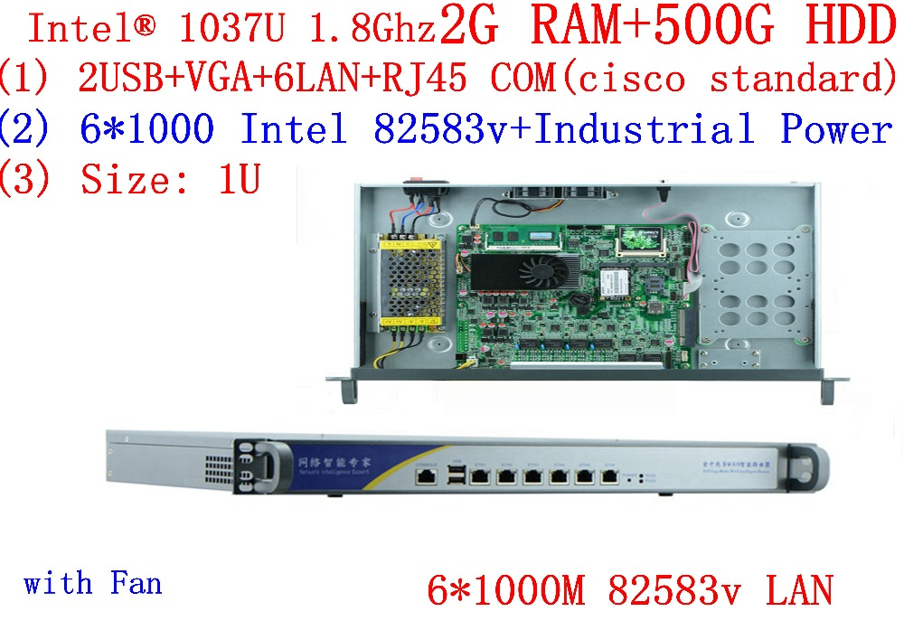 1U Network Server With 6*1000M Inte 82583v Lan Celeron C1037U CPU Support ROS Mikrotik PFSense Panabit Wayos 2G RAM 500G HDD