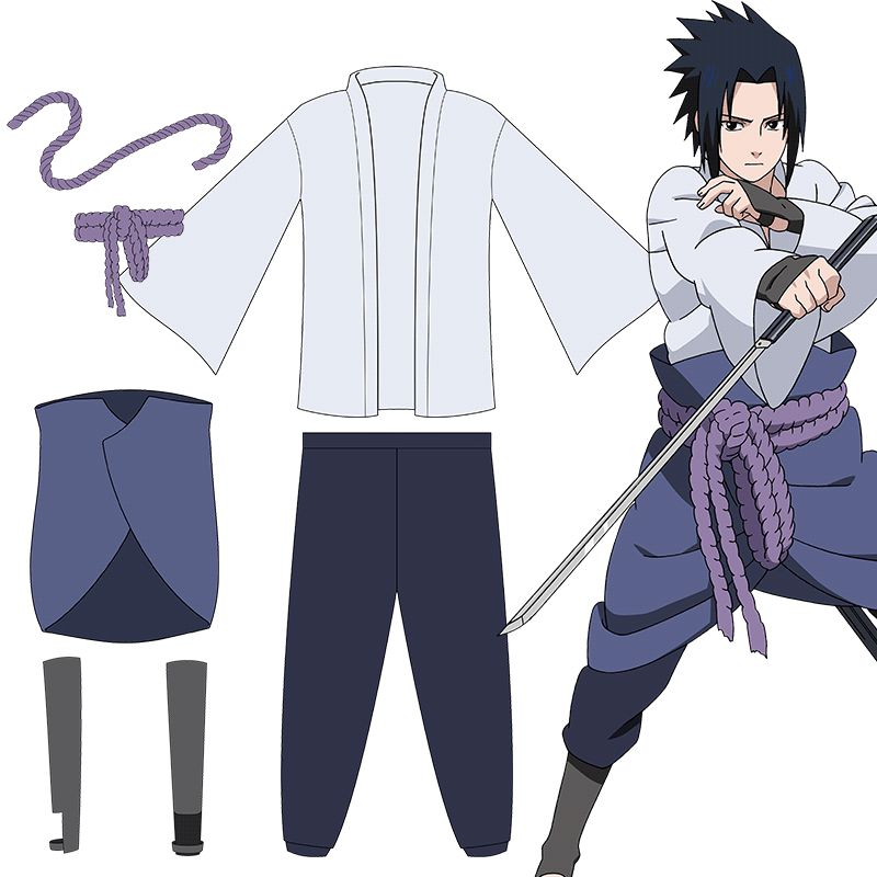 Anime Shippuden Naruto Cosplay Uchiha Sasuke Costumes 4th Adult Unisex Fancy Party Uniform Complete Full Set for Halloween