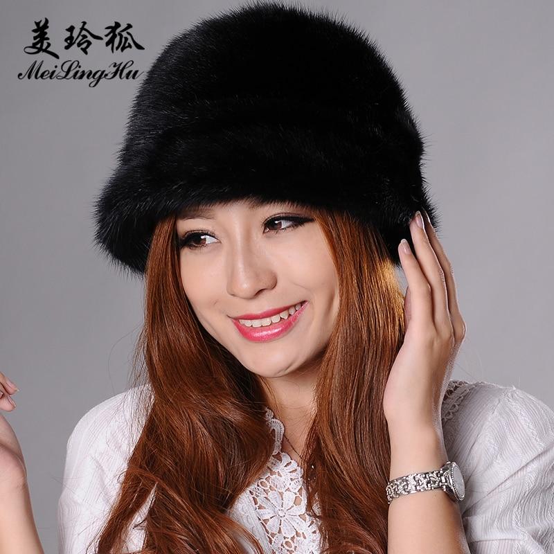 Véritable vison fourrure pompon chapeaux femmes bonnets chapeau naturel vison fourrure chaud nouveaux Skullies et bonnets pour femmes Cap chapeaux d'hiver - 1