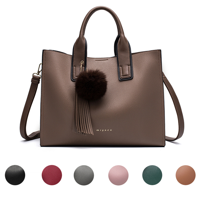 Miyaco Women Leather Handbags Casual Brown Tote bags Crossbody Bag TOP-handle bag With Tassel and fluffy ball 5