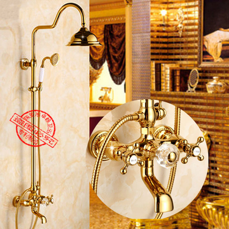 Shower Set Brass Brushed Exposed Bathtub Shower Faucets Dual Handle Rainfall Round Shower Head Wall Mounted Bathroom Accessories