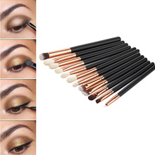 Hot Sale 12Pcs Professional Eyes Makeup Brushes Set Wood Handle Eyeshadow Eyebrow Eyeliner Blending Powder Smudge Brush