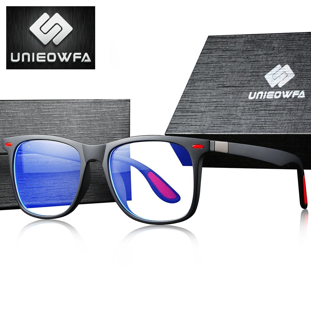 UNIEOWFA Retro Clear Glasses Frame Men Women Optical Myopia Eyewear Frame Transparent Spectacles TR90 Prescription EyeglassesMens Eyewear Frames   -