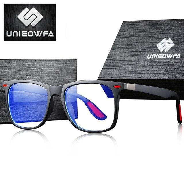 UNIEOWFA Retro şeffaf gözlük çerçeve erkek kadın optik miyopi gözlük çerçevesi şeffaf gözlükler TR90 reçete gözlük
