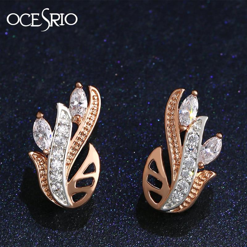 OCESRIO New Zircon Rose Gold Stud Earrings Gold 585 Crystal Flower Earrings for Girls Fashion Jewelry Ears Piercing Sale ers-k32