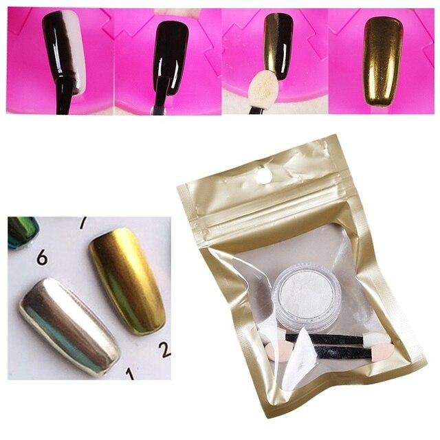 1g plata oro cromo espejo Polvos de maquillaje para Clavos efecto ...