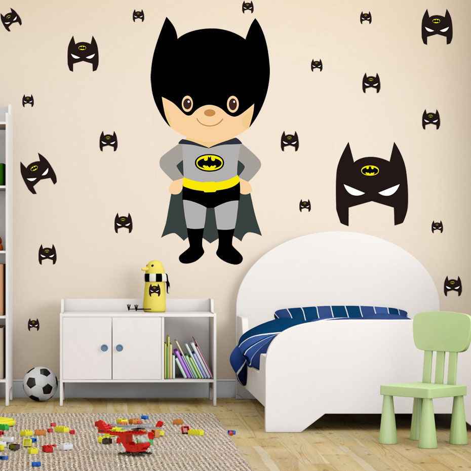 Cute Cartoon Batman Wall Sticker Diy Removable PVC Wall Decal Funny Interesting Wall Art For Kids Room Modern Nordic Home Decor