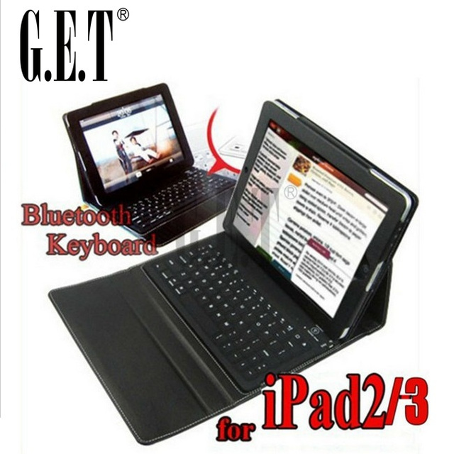 Leather Case + wireless Bluetooth Keyboard for iPad 2 3 4 iPad3 2nd stand bag