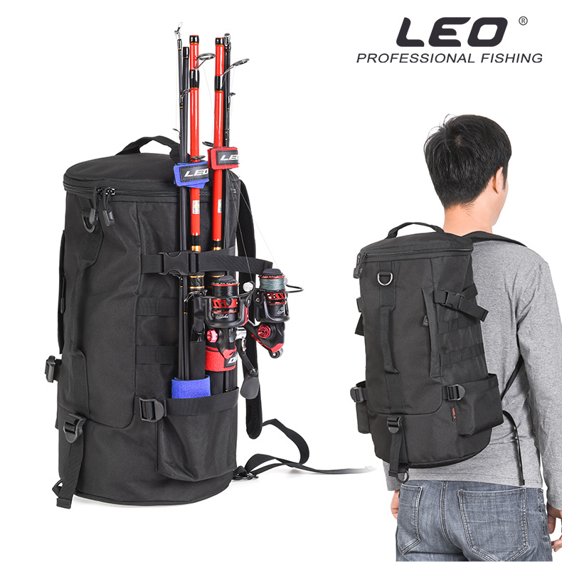 Leo Fishing Bags 28085 Cylindrical Fishing Rod Reel Bag Backpack Fish Case Lure Outdoor Tackle 23L 1000D Polyester Pesca Fishing Bags     - title=