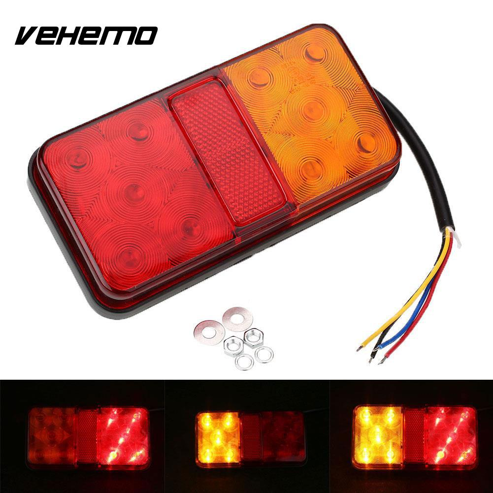 Vehemo 12V 10 LED Trailer Rear Tail Light Indicator Turn Signal Lamp Taillight 12v 3 pins adjustable frequency led flasher relay motorcycle turn signal indicator motorbike fix blinker indicator p34