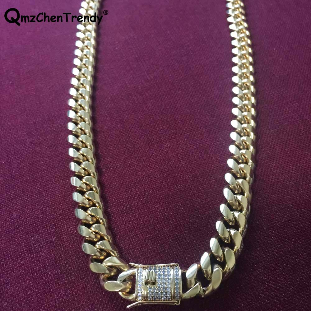 d50323e678 10MM / 14MM Men Cuban Miami Link CZ Necklace Stainless steel Rhinestone  Lock Clasp Iced Out Gold Silver Hip hop Chain Necklace