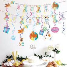2pcs Puppy Birthday Banner Bone Shape Party Foil Swirl Decoration Hanging Woof Pet Baby Shower Doggy