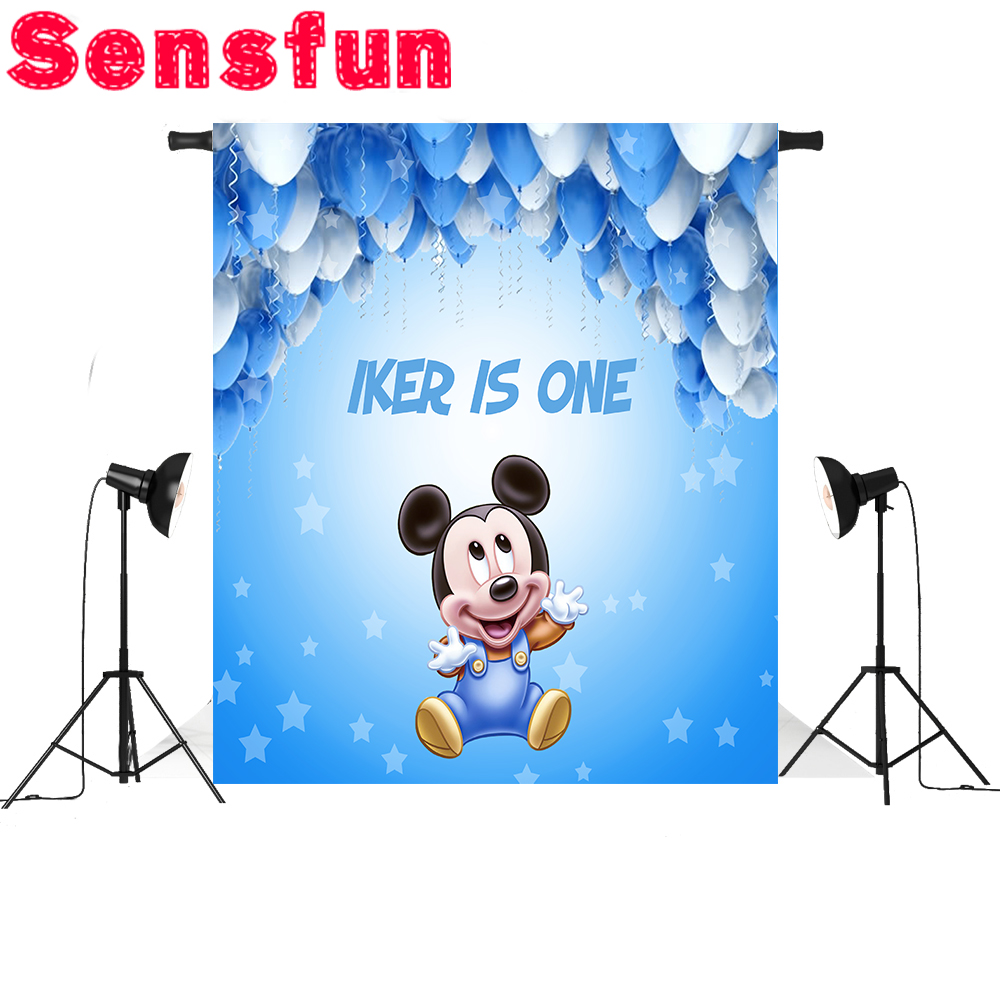 Sensfun Cartoon Boys Baby Birthday background Photo backdrops Blue Mickey Mouse Party Event Banner 5x7FT sensfun background for photos alice in