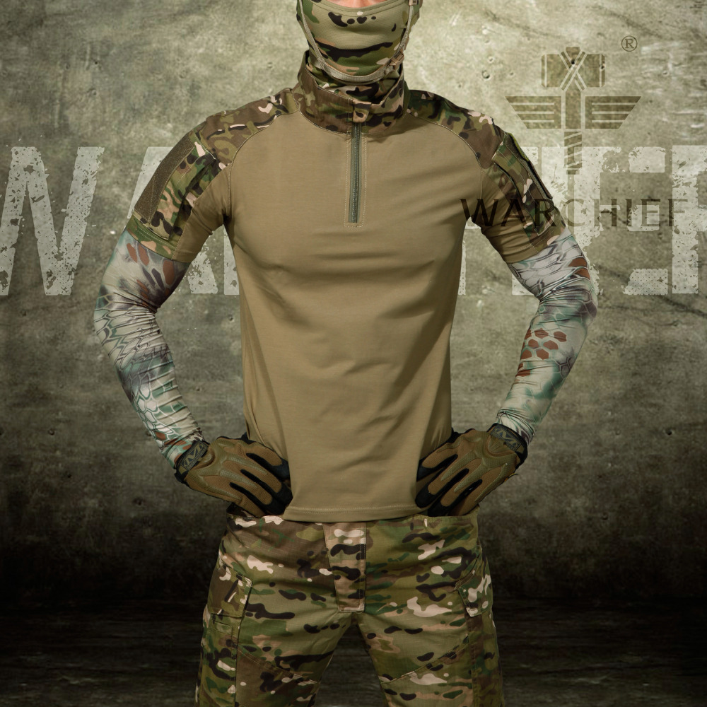 Male Camouflage T-shirts Army Combat Tactical T Shirt Military Men Long Sleeve T-Shirt color block long sleeve t shirt