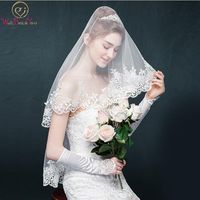 Walk Beside You 2017 Lace Wedding Veil Short Wedding Accessories 1 5 M Length One Layer