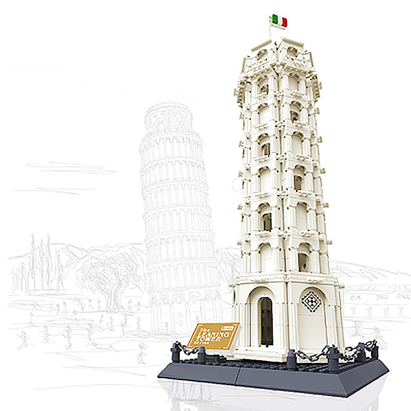 City Leaning Tower of Pisa Architectural Landmark Creator Building Blocks Educational Toy Children Gifts Creator