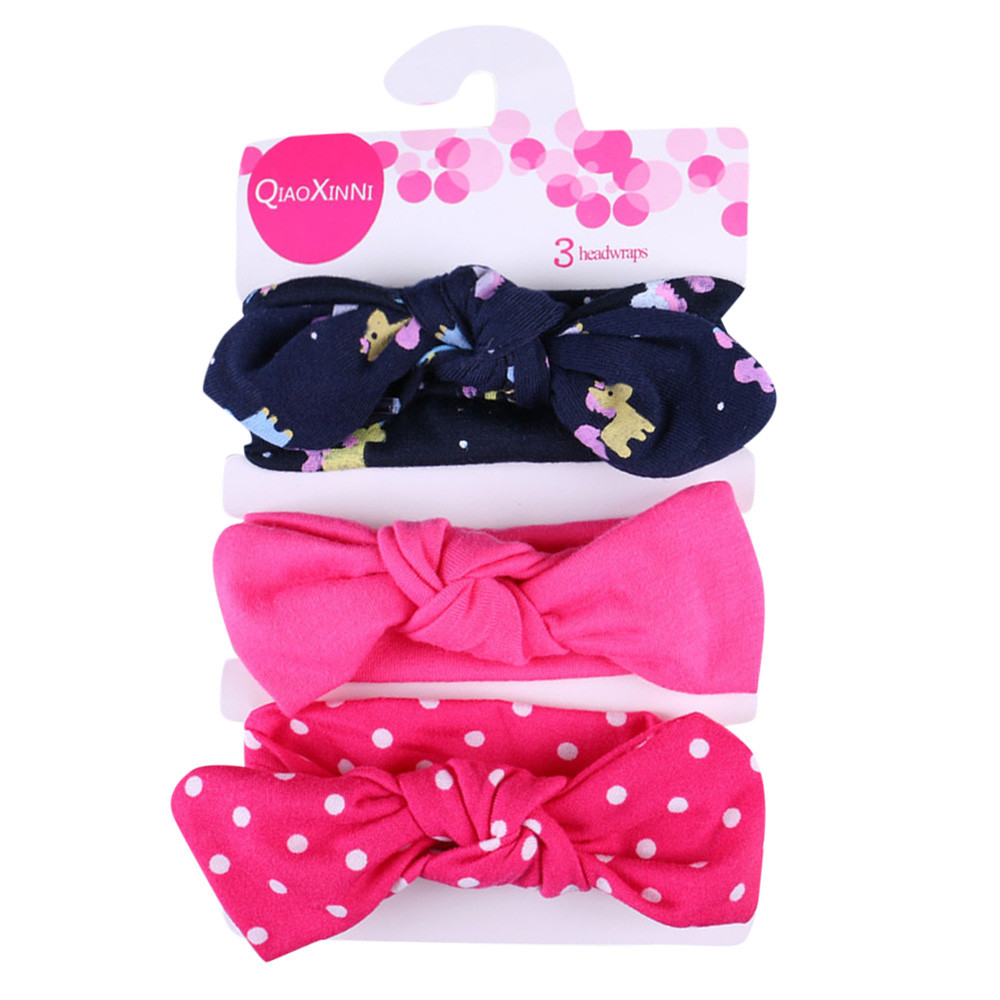 3Pcs Kids Floral Headband Girls Baby Elastic Bowknot Accessories Hairband Set rysunek kolorowy motyle