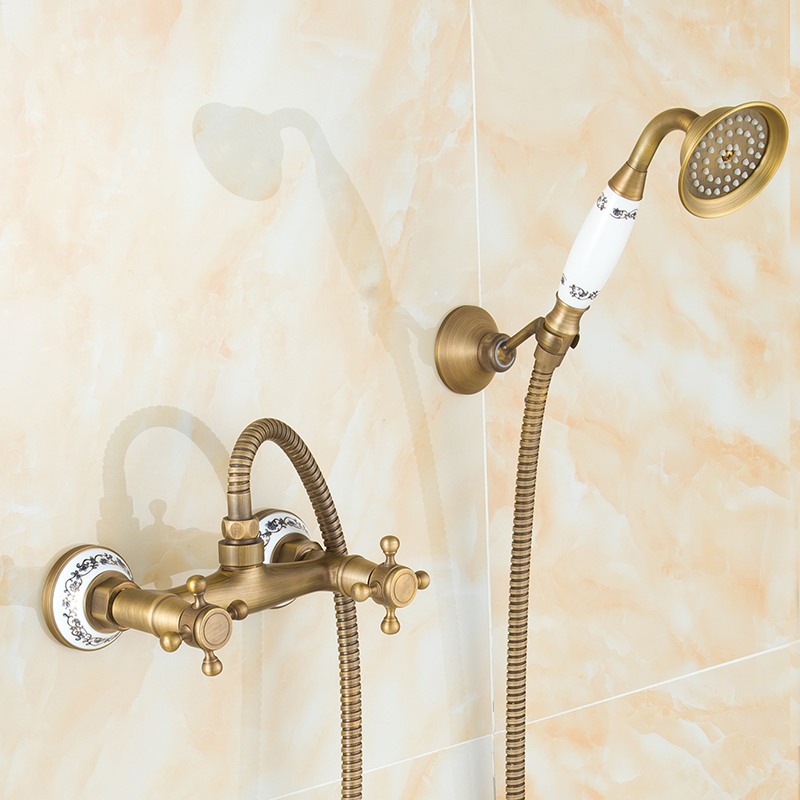 European antique copper shower faucet set water hot and cold, Vintage wall mounted shower set bathroom shower faucet mixer tap bathroom shower plumbing hardware kit copper three speed faucet hot and cold shower set bathroom faucet